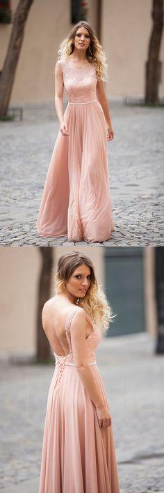 Elegant A-line Blush Pink Sleeveless Lace Prom/Evening Dresses PG492 #prom #evening #dress #party #pgmdress #chiffon #fashion