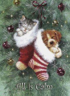 christmas scenes All is bright - - weihnachten Christmas Scenes, Christmas Past, Christmas Animals, Christmas Pictures, Winter Christmas, Christmas Crafts, Christmas Decorations, Christmas Puppy, Winter Snow