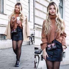 Franziska Elea - Dorothee Schumacher Coat, H&M Sweater, Forever 21 Skirt, Karl Lagerfeld Bag, Bronx Boots - Leather Skirt + Chloé Lookalike Boots