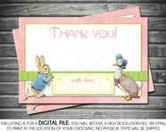 Girl Baby Shower Thank You Card - Peter Rabbit Theme, Polka Dots, Green, Pink, Instant Download, Printable, Digital Baby Shower Thank You Cards, Custom Thank You Cards, 1st Birthday Girls, 1st Birthday Parties, Photo Center, Peter Rabbit, Custom Items, Free Design, Polka Dots