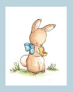 Impresión del arte de los niños. Patita de conejo. por LoxlyHollow