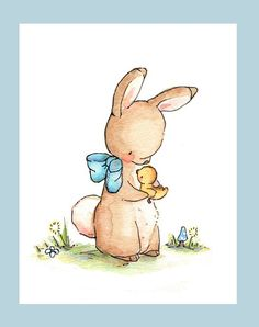 Children Art Print Bunny's Duckling PRINT 8X10 by LoxlyHollow, $24.00