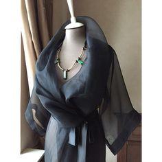 NATALY BIRGER atelier ✂️ Прозрачная накидка/ пеньюар/ кимоно с рукавами 3/4 из шелковой органзы и черным шелковым поясом - отличное дополнение к вечернему образу или самостоятельная деталь женского гардероба #natalybirger #fw14 #fashion #style #designer #black #lady #silk #atelier #dress #мода #стиль #дизайнер #одежда #гардероб #леди #шелк #платье #ателье #jj #instalove #like #love #lengerie #photooftheday