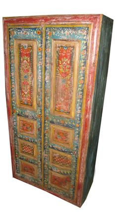 Antique Hand Painted Armoire Red Blue Floral Design India Furniture CABINET