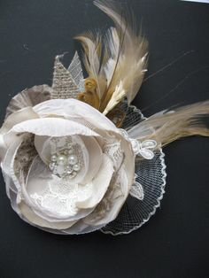 Wedding bridal hair accessory fascinator Hair Clip Beige flower Ivory Sand wheat Brown burlap hairclip vintage inspired lace fascinator. $42.00, via Etsy.