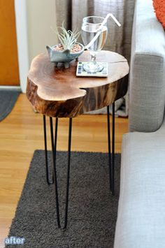 Fallen tree made into a fabulous side table on betterafter.net