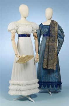 Gown of blue / gold striped silk, garnering one rouleau and scalloped edge over skirt's seam in purple / blue silk..circa 1826-1827