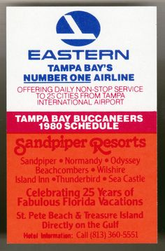 1980 TAMPA BAY BUCCANEERS EASTERN AIRLINE FOOTBALL POCKET SCHEDULE FREE SHIPPING