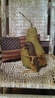 Crow pear and flag pillow.  WOW