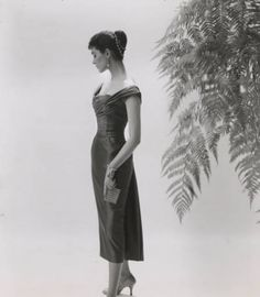 Woman in cocktail dress made with Orlon