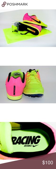Nike Racing (Track) Cleats Brand new size 13 hot pink and neon yellow Nike Racing cleats with shoe bag. Make an offer. I just may accept😊 Nike Shoes Athletic Shoes