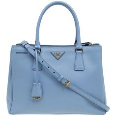4d7d896347 Prada Powder Blue Saffiano Lux Leather Small Tote ❤ liked on Polyvore  featuring bags