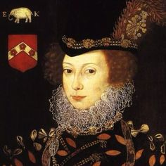 Lettice Knollys. Cousin to Elizabeth I. Lettice lost favour with Elizabeth when Elizabeth discovered that Lettice married Robert Dudley - Elizabeth's favourite and cherished courtier.