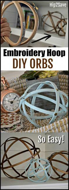 Farmhouse Style Orbs Using Embroidery Hoops You won't believe how easy it is to make these inexpensive farmhouse style decorative orbs for your home!You won't believe how easy it is to make these inexpensive farmhouse style decorative orbs for your home! Easy Home Decor, Handmade Home Decor, Cheap Home Decor, Diy Decorations For Home, Inexpensive Home Decor, Diy Crafts For Home, Home Decor Country, Easy Crafts, Upcycled Home Decor