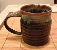 Mug brown blue textured. $20.00, via Etsy.