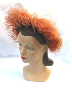 1940s Rust Felt Hat with Feathers by Gene Doris