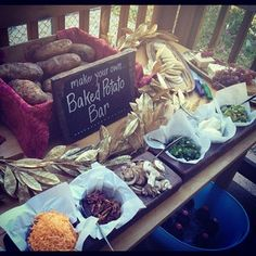 Baked Potato Bar. Doing this for Husband's day before birthday dinner tomorrow