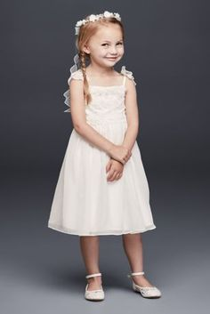 Chiffon Flower Girl Dress with Tiered Lace Bodice OP243