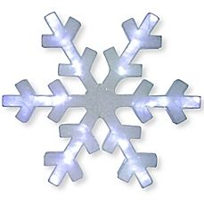 image of Frosted 60-Inch Pre-Lit Snowflake with White Lights