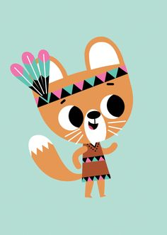 This squirrel girl is wearing her indian dress & feathers - poster 50 x 70 cm by Tiago Americo