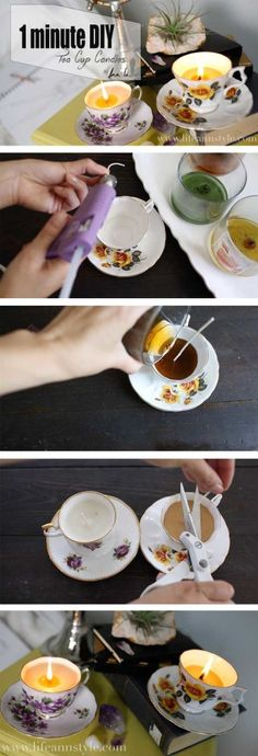 Repurposed Tea Cup Candles: 1 Minute DIY | lifestyle