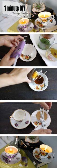 Repurposed Tea Cup Candles: 1 Minute DIY | lifestyle