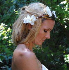 Ivory Crown, Bridal Headpiece, Jeweled Headband, Woodland Circlet, Bohemian Wedding Crown, White Wedding Accessory  - Heidi - pinned by pin4etsy.com