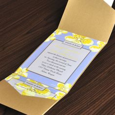 Yellow floral pocket online wedding invitations EWPI011 as low as $1.69 Yellow Wedding Invitations, Wedding Invitations Online, Classic Wedding Invitations, Wedding Stationery, Summer Wedding, Our Wedding, Spring Weddings, Reception Card, Menu Cards
