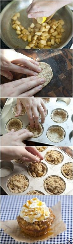Perfect Apple Pie Cupcakes!.For Ingredients and more information check here : http://foodland.info/perfect-apple-pie-cupcakes/