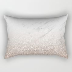 Glittery rose gold glitter ombre with white marble - throw pillow rectangular cushion. Available in other colors.
