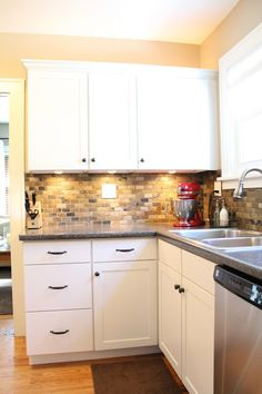 Small Kitchen Remodel with Slate Tile Backsplash | featured at Remodelaholic.com #smallkitchen #remodel #backsplash @Remodelaholic .com