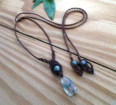 Phantom quartz macrame necklace crystal healing by SelinofosArt