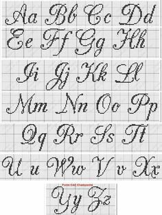 ~ Cursive Upper & Lower Alphabet with Heart Cross Stitch Pattern Yy Cross Stitch Letter Patterns, Cross Stitch Letters, Cross Stitch Borders, Cross Stitch Designs, Cross Stitching, Cross Stitch Embroidery, Stitch Patterns, Cross Stitch Font, Loom Patterns