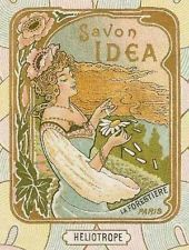 Savon Idea Heliotrope Paris antique perfume label, art nouveau lady, flowers
