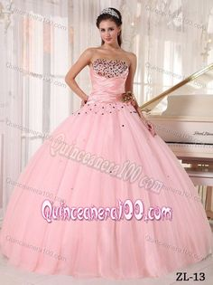 Ruched Beaded Pink Ball Gown Sweet 16 Dresses with Flower