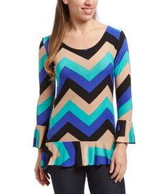 Ruffle trim along the cuffs and hem adds playful movement to this slim-fitting top. Blue Chevron, Spring Tops, Ruffle Trim, Royal Blue, Bell Sleeve Top, Slim, Blouse, Women, Fashion