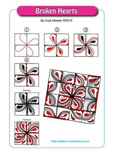 Broken Hearts Tangle, Zentangle Pattern by Anja Meeter Zentangle Drawings, Doodles Zentangles, Doodle Drawings, Doodle Art, Zen Doodle Patterns, Doodle Designs, Zentangle Patterns, Tangle Doodle, Tangle Art