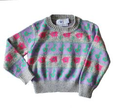 Vintage 80s Pig and Duck Critter Sweater - Girls Size 5 / 6 - Hartstrings, made in America by bluebutterflyvintage on Etsy