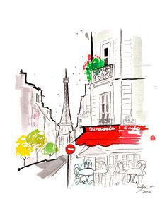 Original watercolor Parisian Cafe gestural painting by Jessica Durrant titled, Hint of a Parisian Cafe.