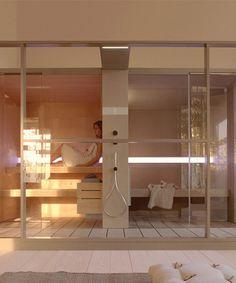 effegibi logica sauna and hammam seamlessly adapts to perfect spa spaces Finnish Sauna, Rainbow Beach, Beach Fun, Relax, Spaces, Beauty Ideas, Wellness, Furniture, Design