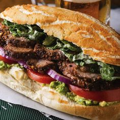 Avocado Ranch Tri-Tip Sandwiches #superbowl