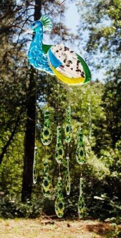Peacock Suncatcher Wind Chime   MysticPrism - Glass on ArtFire: