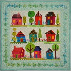 adorable quilt made by Ami for Alzheimer's Art Quilt Initiative. Don't go looking for a pattern, I'm pretty sure it's a one-off piece of art.