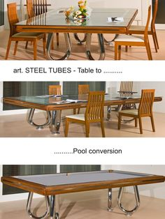 Mod. STEEL TUBES Pool Table with Dining setup by Etrusco of Mosti Cesare.