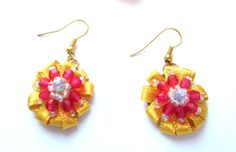 Mardi Gras Set Earrings Ring Pink & Yellow by MadiReShop on Etsy Etsy Earrings, Ring Earrings, Beaded Earrings, Satin Ribbon Flowers, Pink Flowers, Pink Ring, Flower Making, My Flower, Little Gifts
