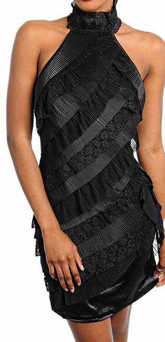 Tiered Ruffle Stripe Mesh Sheath Dress Solid Back, Halter Neck Cocktail Dress