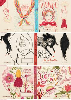 embroidered book jackets by penguin, as created by illustrator and cartoonist jillian tamaki {via decor8}