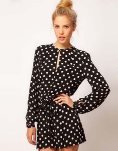 Finejo Women Fashion Sexy Casual Round Neck Long Sleeve Cut Out Hollow Polka Dot Short Playsuit Jumpsuit Short Playsuit, Polka Dot Shorts, Polka Dots, Backless Jumpsuit, Cotton Jumpsuit, Pant Jumpsuit, Online Shops, Fashion Designer, Long Sleeve Romper