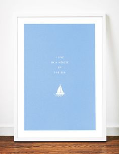 Seaside Sailboat poster art print by WeaversofSouthsea on Etsy
