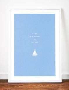 Seaside Sailboat poster art print illustration home typography sail boat yacht